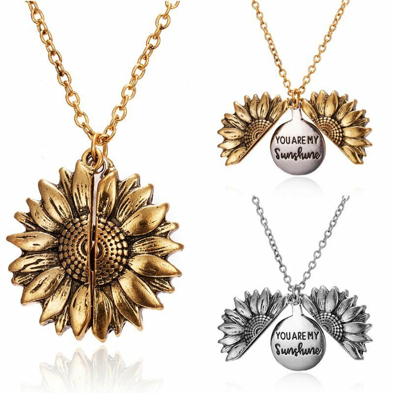 """You Are My Sunshine"" Open Locket Sunflower Pendant Necklace"