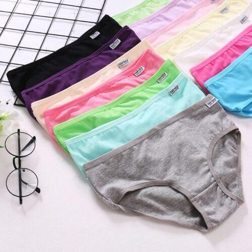 Women Girls Cotton Underwear Brief Solid Panties Breathable