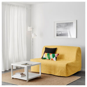 LYCKSELE Sleeper sofa slipcover, Ikea, yellow corduroy