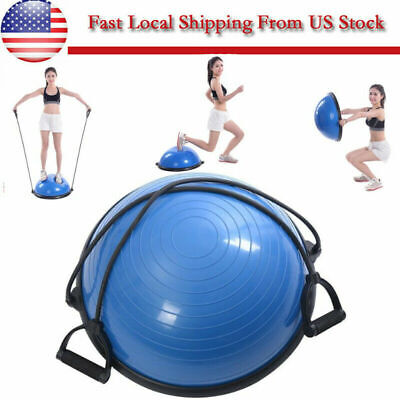 "23"" Yoga Half Ball Exercise Trainer Fitness Balance Strength Gym w/Pump"