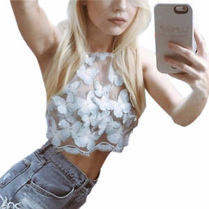 BRAND NEW Fully Embroidered Butteryfly Mesh Crop Top Cambridge Kitchener Area image 2