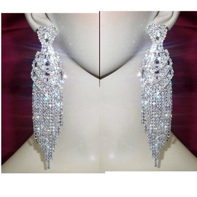 Silver Heart Crystal Rhinestone Earrings 5.2