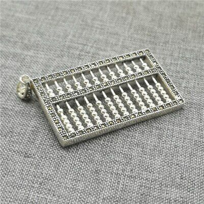 925 Sterling Silver Abacus Pendant w/ Marcasite