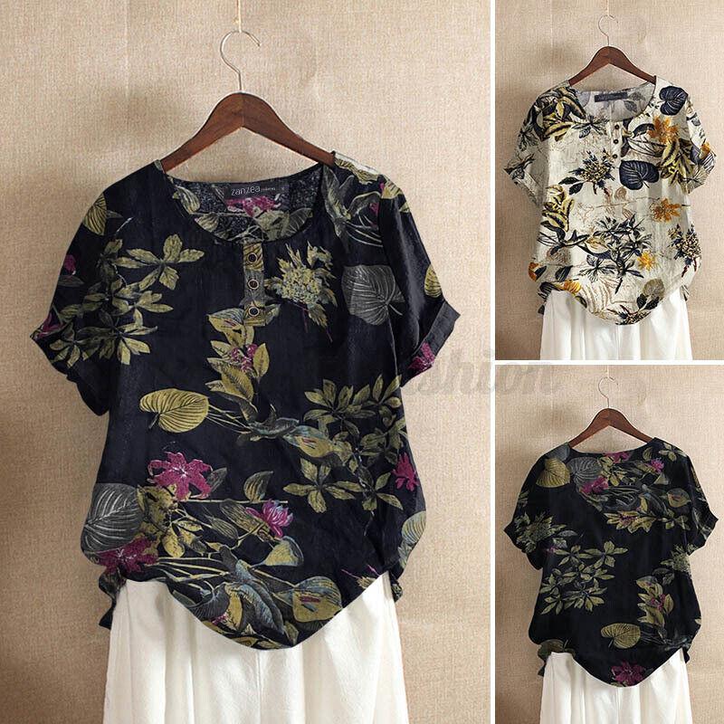 ZANZEA Women Summer Short Sleeve Crew Neck Plus T-Shirt Tops Floral Tunic Blouse