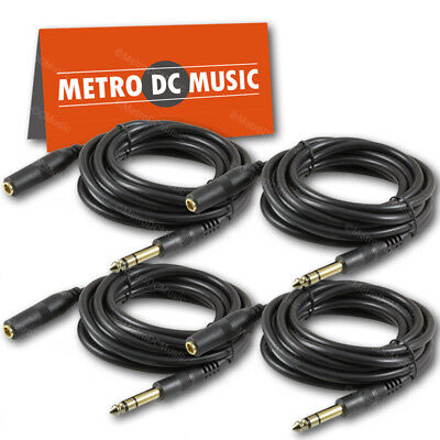 "4-Pack 10 ft Stereo Headphone Extension Cable 1/4"" TRS Male to Female Cord 6.35 for sale  Shipping to India"