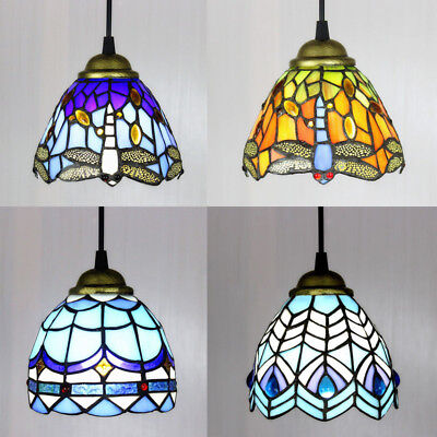 Stained Glass Mission Style Pendant Light Hanging Ceiling Lamp in Bronze Finish