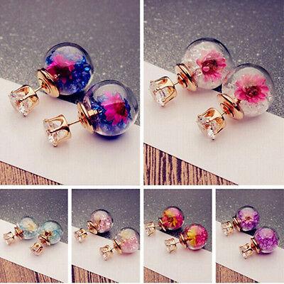 (1Pair Fashion Women Lady Elegant Flower Rhinestone Glass Ear Stud Earrings)