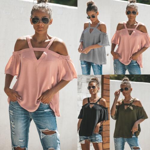 DE Damen Chiffon Sommer T-shirts Top Kurzarm Schulterfrei Oberteil Blusen Shirt