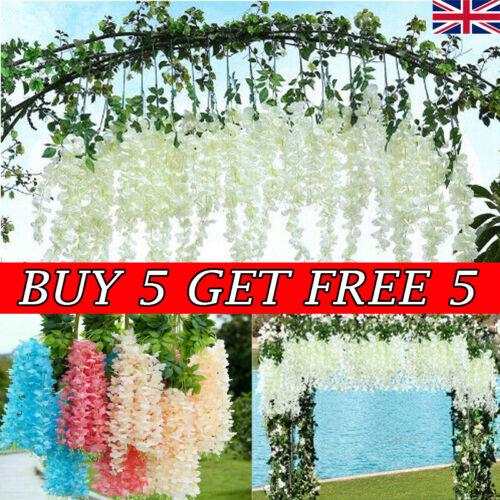 Home Decoration - Artificial Hanging Wisteria Fake Silk Flowers Home Wedding Garden Party Decor RD
