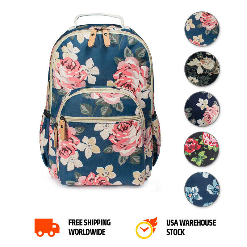 Women's Floral Laptop Travel School College Backpack Bag Boo