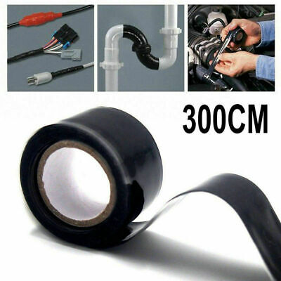 4pcs Black Rubber Silicone Repair Waterproof Adhesive Tape Rescue Self Fusing