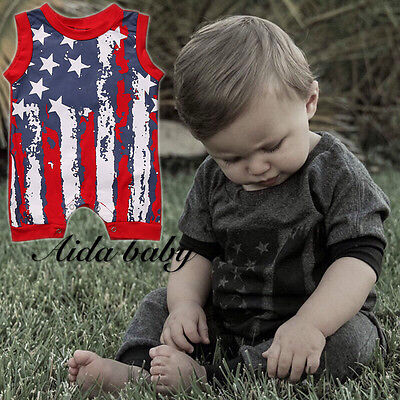 Newborn Baby Boy Girl 4th Of July Stars&Striped Romper Jumpsuit Bodysuit Outfits