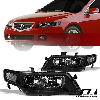 For 2004-2008 Acura Tsx Black Housing Projector Headlights Corner Signal Lamp Nb
