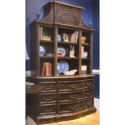 Habersham palladian black bookcase w hand painted art for Habersham cabinets cost