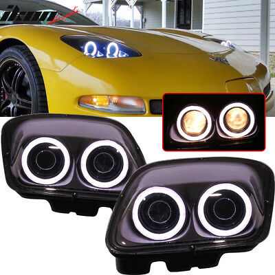 Fits 97-04 Chevy Corvette C5 Headlights Projector Lamp Black Dual LED Halo Rims