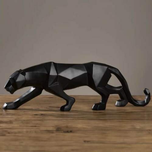 19 inch Modern Abstract Black Panther Sculpture Geometric Resin Leopard Statue