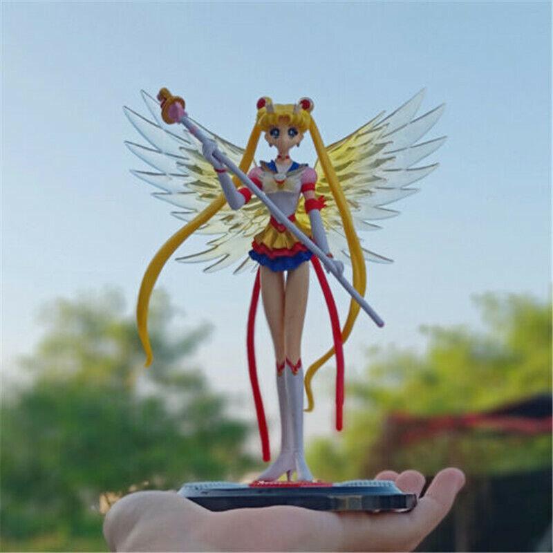 "Japan Anime Super Sailor Moon Usagi Tsukino Action Figure Toy With Wing 6"" Cake"