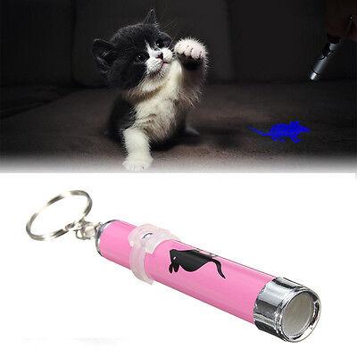 Cat Dog Pet Toys LED Laser Pointer Light Pen w/Bright Mouse Animation Flashlight