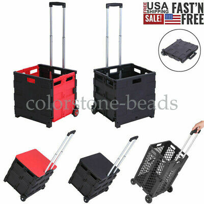 Folding Shopping Trolley Handcart Utility Cart Two-wheeled Rolling Collapsible