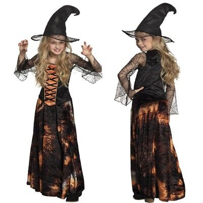 Schicke elegante Hexe Magierin - komplettes Hexen Kostüm für Kinder - Elegante Hexe Kind Kostüm