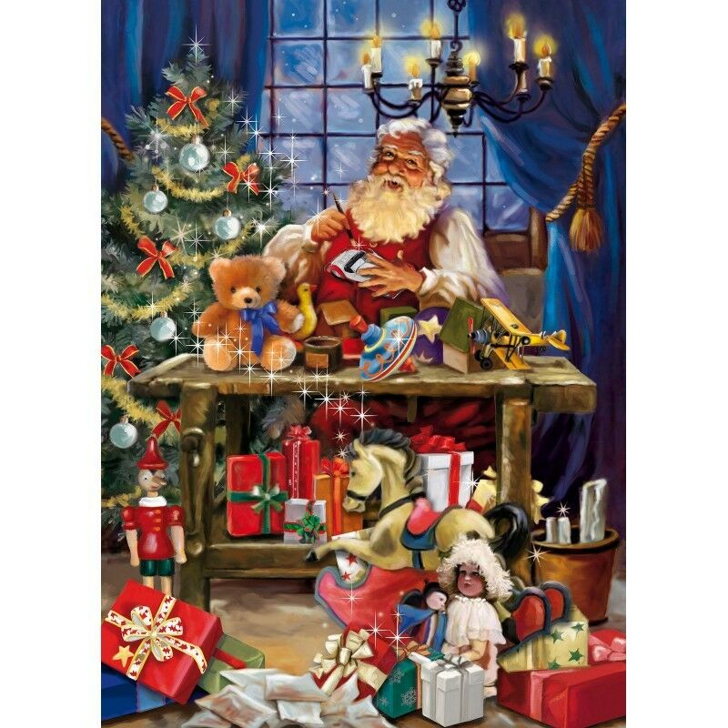 1000 piece christmas jigsaw puzzle santa 39 s desk making for Backyard party decoration crossword
