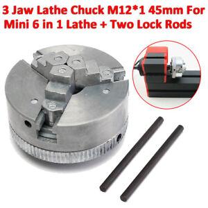 Metal 3 Jaw Self-Centering Lathe Chuck M12*1 45mm For Mini 6 in 1 Lathe+Two Lock
