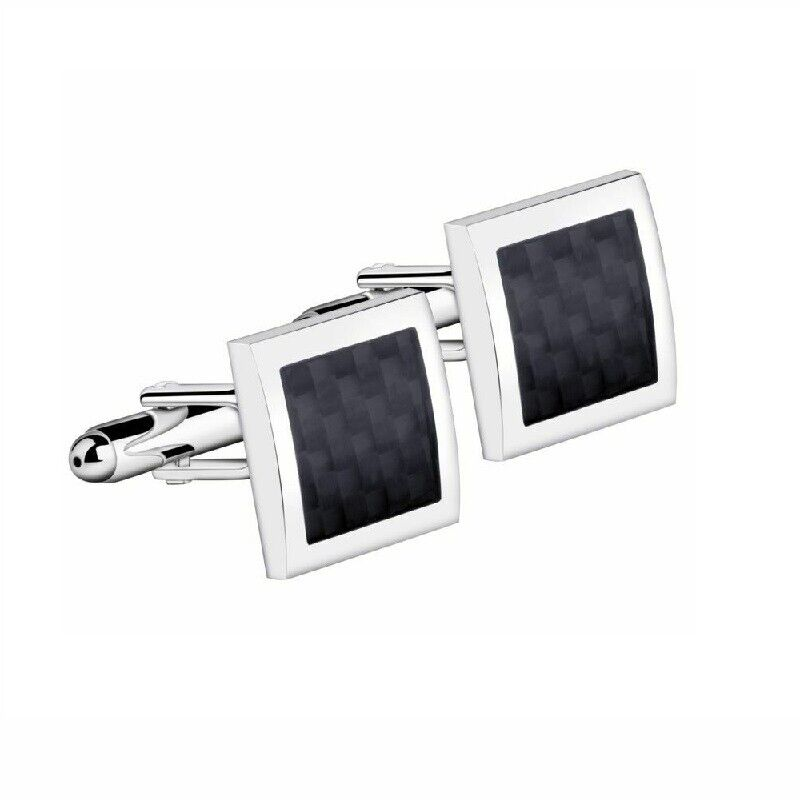 Men's Black Silver Stainless Steel Square Wedding Shirt Cuff