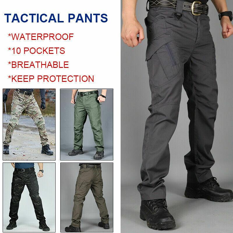 Mens Waterproof Tactical Work Trousers Men Cargo Pants Combat Hiking Outdoor