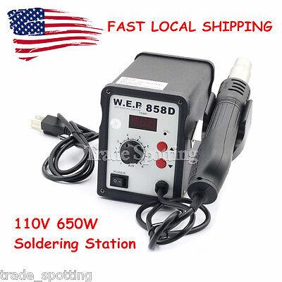 Us Stock 858d Wep Hot Air Gun Soldering Station Iron Welding Rework