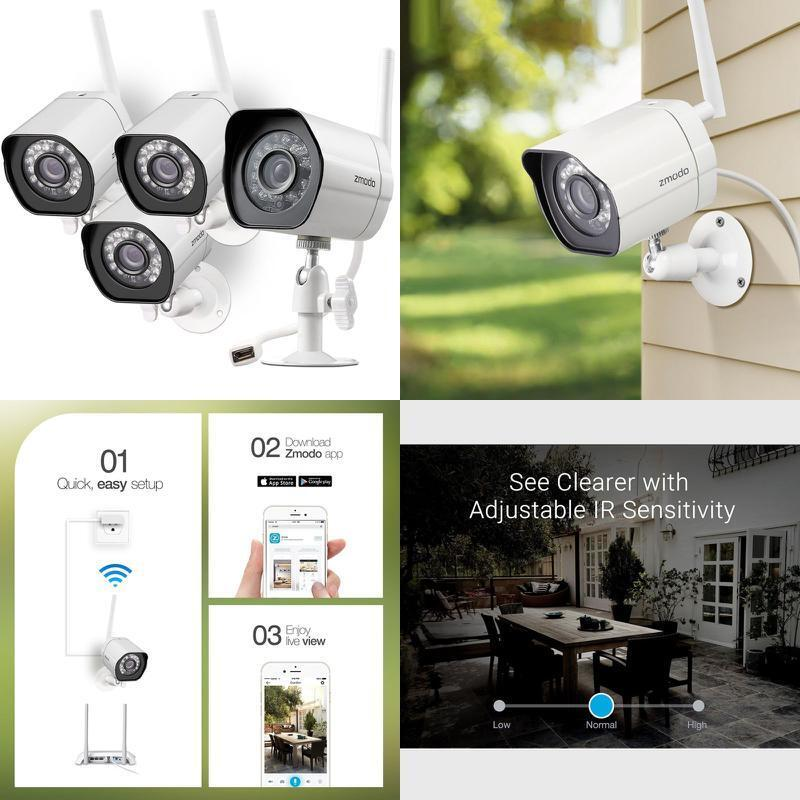 Details about Wireless Security Camera System Smart HD WiFi IP Outdoor  Cameras w/ Night Vision