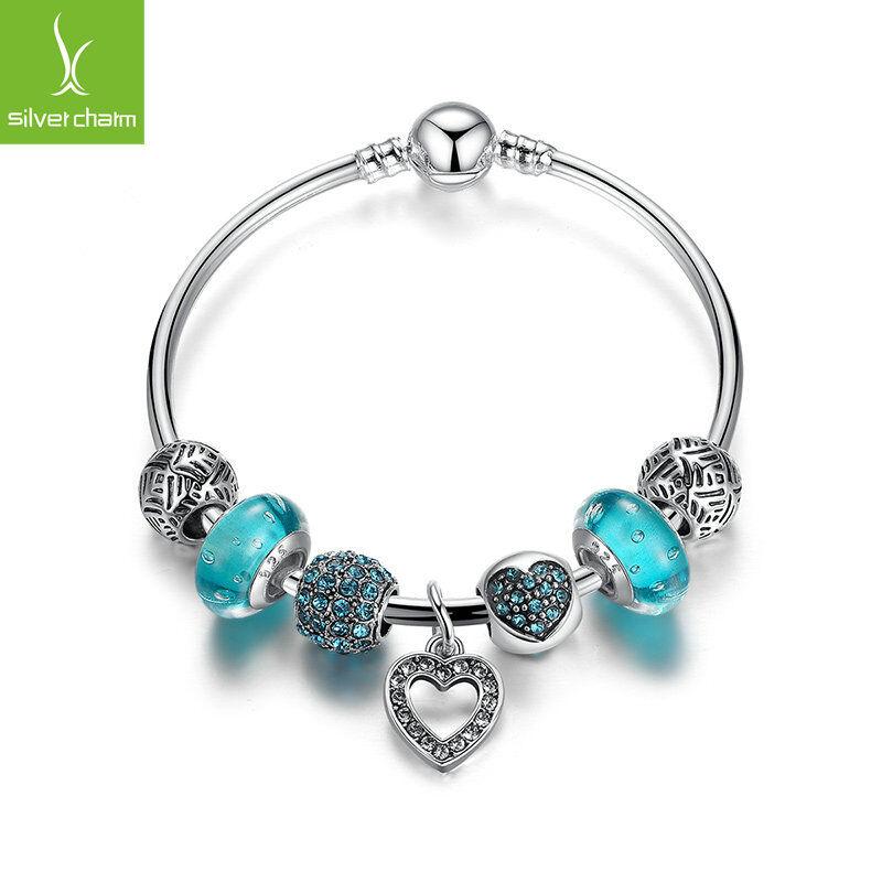 European 925 Silver Love Heart Dangle Charm Bangles With Blue Charm Bead Jewelry