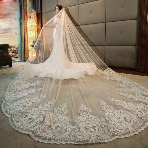 Wedding Veils Bridal Accessories Cathedral Length 1 Layer With Comb White Ivory