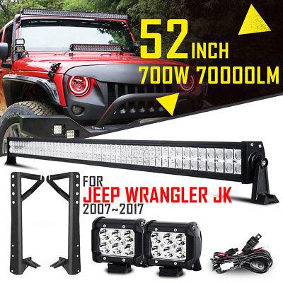 "52"" 700W +2x 4"" 18W Spot LED Work Light Bar +Mount Brackets For Jeep Wrangler JK"