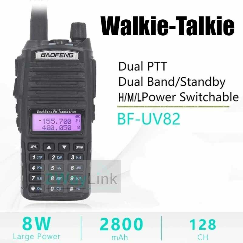 Walkie-Talkie 8 Watt Headset 10 KM UV82 8W Radios 9r Ham Hig