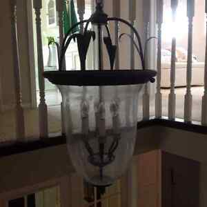 Matching Antique Bronze Chandelier and Ceiling Light for Sale Cambridge Kitchener Area image 3