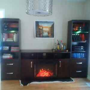 Entertainment unit with backlights & fireplace insert for sale