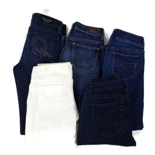 5 Pair Denim Jeans Womens Size 2 Levis Rock Republic Chicos Aeropostale Bundle