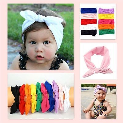 Toddler Baby Girls Bunny Rabbit Bow Knot Turban Headband Hair Band Headwrap Cute