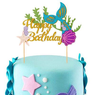 Cake Topper Picks Mermaid Shell Decor Kids Girls Birthday Pa