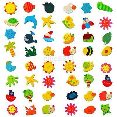 12pcs Colorful Wooden Various Shapes Cartoon Refrigerator Ma
