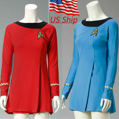 Star Trek Female Duty TOS Blue Uniform TOS Red Dresses Cosplay Costume Adult](Star Trek Female Costumes)