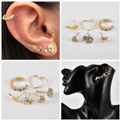 Punk Crystal Wings Dragonfly Love Palm Ear Stud Earrings Set Women's Aretes