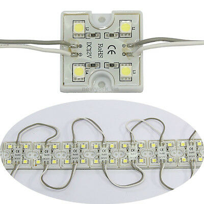 20pcs 4 Led Cool White 5050 Smd Module Waterproof Light Lamp Strip Dc 12v