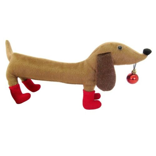 Stuffed Holiday Dachshund in Red Boots Christmas Decoration