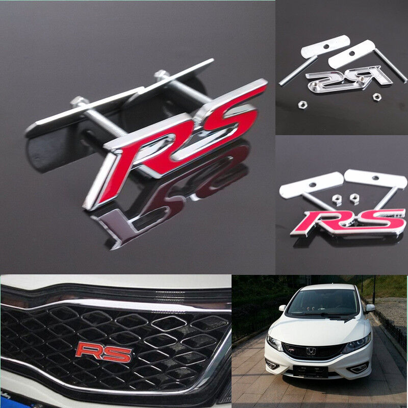 Red RS 3D Metal Alloy RS Logo Racing Front Hood Grill Badge Emblem Decals Auto