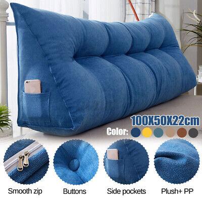 100CM 39In Triangular Wedge Lumbar Long Pillow Support Backrest Soft Bolster -