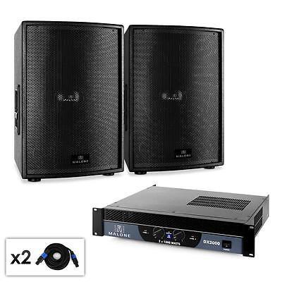 2.0 PA ANLAGE DJ SOUND SYSTEM PAAR 38CM SUBWOOFER BOXEN 1x 2000W VERSTÄRKER SET Dj-sound-system