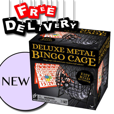 Deluxe Wire Metal Cage Bingo Set Game with Automatic Random Ball Selector [NEW] Bingo Cage Set