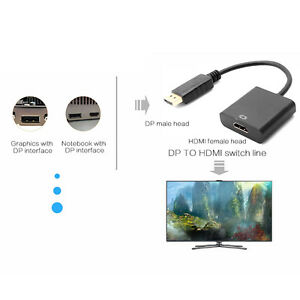 DP-DisplayPort-Macho-a-HDMI-Hembra-Convertidor-de-Cable-Adaptador-Para-PC-HDTV