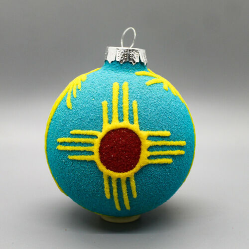 NAVAJO-SANDPAINTING NEW MEXICO ZIA ORNAMENT by IRVIN JIM-NATIVE AMERICAN